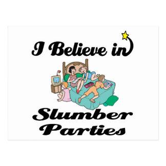 i believe in slumber parties postcard