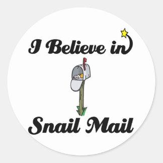 i believe in snail mail classic round sticker