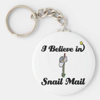 i believe in snail mail keychain