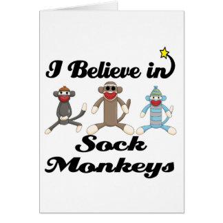 i believe in sock monkeys greeting card
