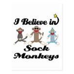 i believe in sock monkeys post cards
