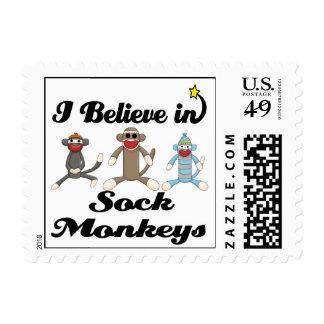 i believe in sock monkeys postage