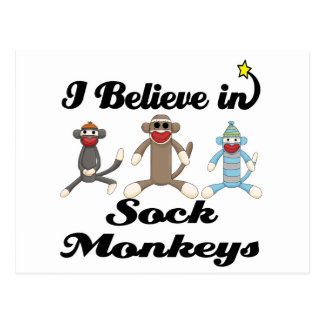 i believe in sock monkeys postcard