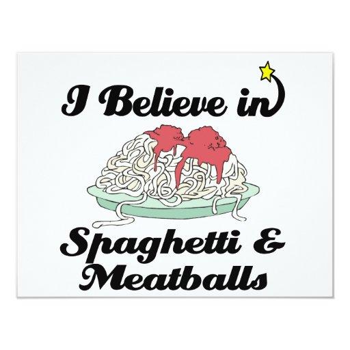 i believe in spaghetti and meatballs 4.25x5.5 paper invitation card