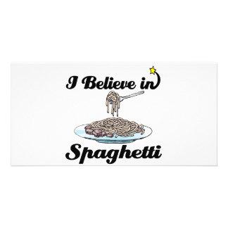 i believe in spaghetti photo card