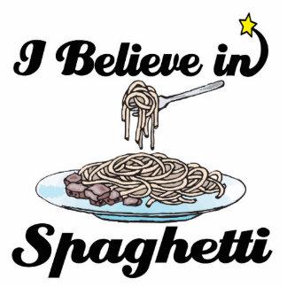 i believe in spaghetti standing photo sculpture