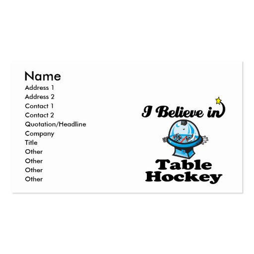 i believe in table hockey Double-Sided standard business cards (Pack of 100)