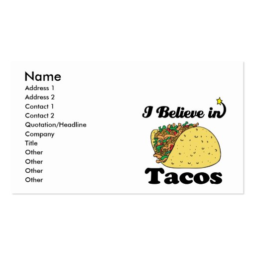 i believe in tacos business card template