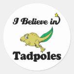 i believe in tadpoles round stickers