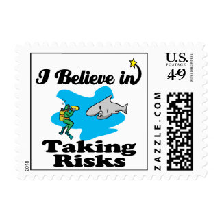 i believe in taking risks postage stamps