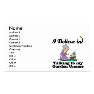 i believe in talking to garden gnome business card