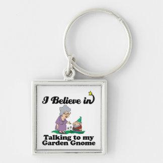 i believe in talking to garden gnome keychain