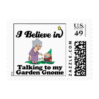 i believe in talking to garden gnome postage stamp