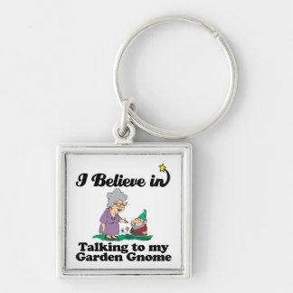 i believe in talking to garden gnome Silver-Colored square keychain