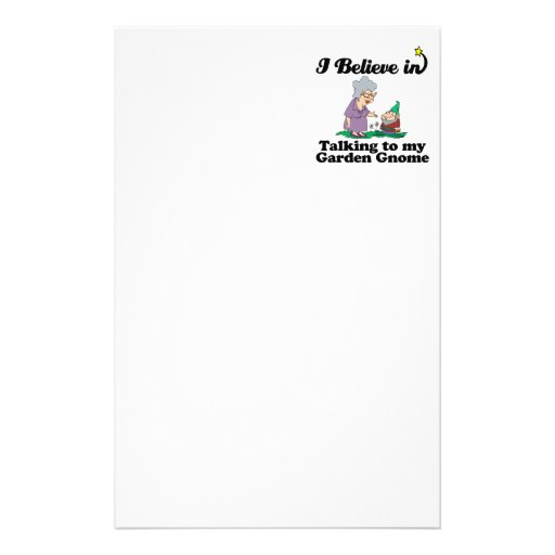 i believe in talking to garden gnome customized stationery