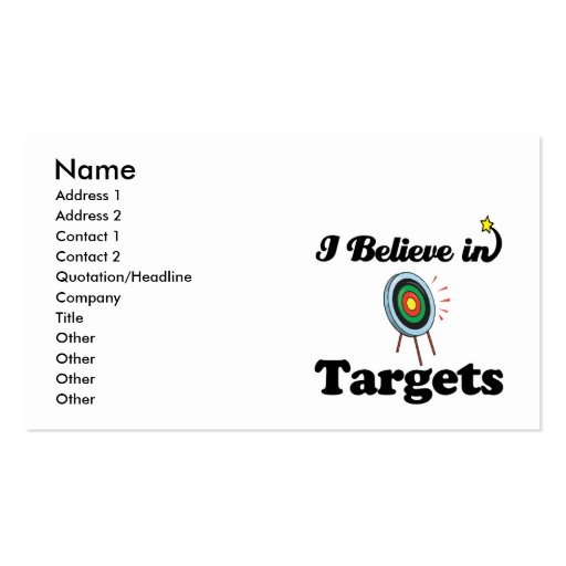 i believe in targets business card