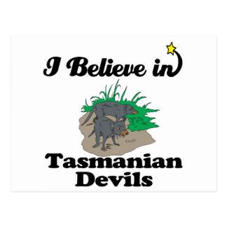 i believe in tasmanian devils postcard