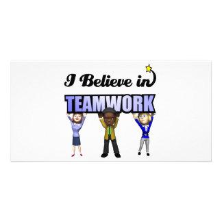 i believe in teamwork customized photo card