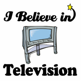 i believe in television standing photo sculpture