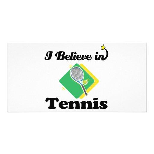 i believe in tennis photo card