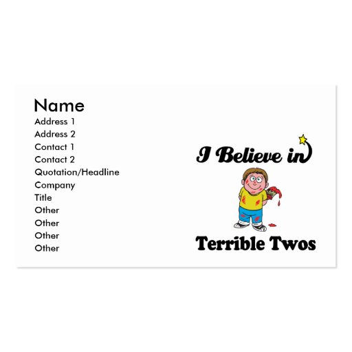 i believe in terrible twos Double-Sided standard business cards (Pack of 100)