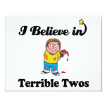 i believe in terrible twos 4.25x5.5 paper invitation card