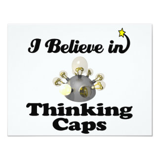i believe in thinking caps 4.25x5.5 paper invitation card