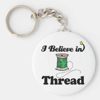 i believe in thread basic round button keychain