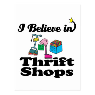 i believe in thrift shops postcard