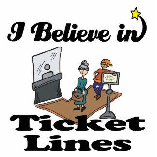 i believe in ticket lines standing photo sculpture