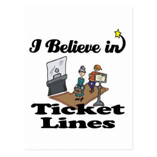 i believe in ticket lines postcard