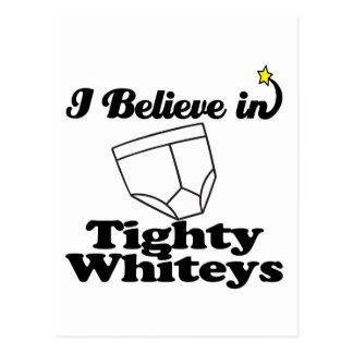 i believe in tighty whiteys postcard