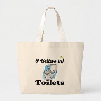 i believe in toilets large tote bag