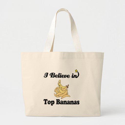 i believe in top bananas tote bag