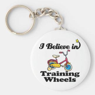 i believe in training wheels key chain