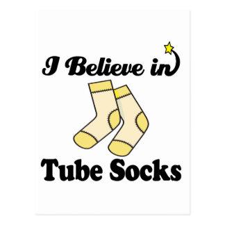 i believe in tube socks postcard