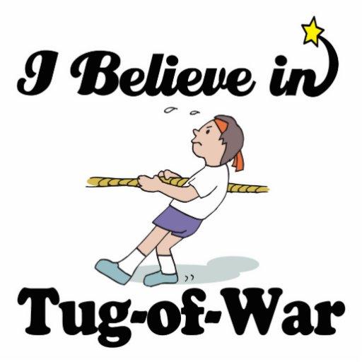 i believe in tug of war standing photo sculpture