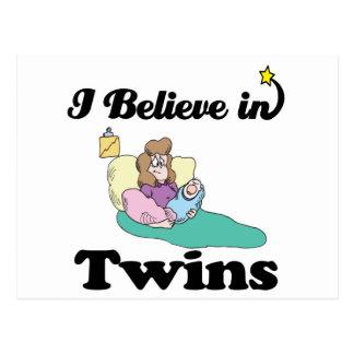 i believe in twins postcard