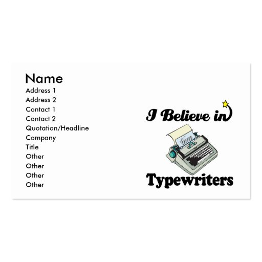 i believe in typewriters business card