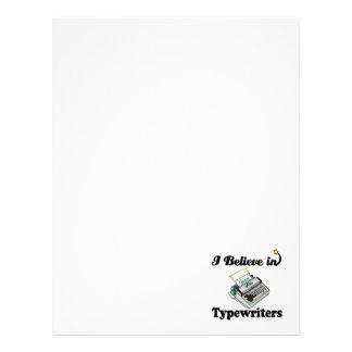 i believe in typewriters personalized letterhead