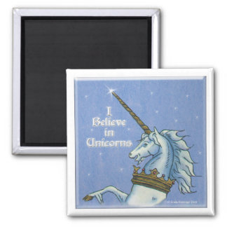 I Believe in Unicorns 2 Inch Square Magnet