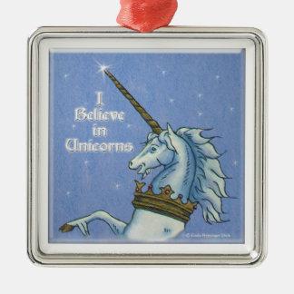 I Believe in Unicorns Head Art Metal Ornament