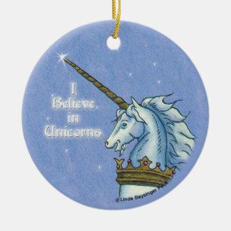 I Believe in Unicorns Head Painting Ceramic Ornament