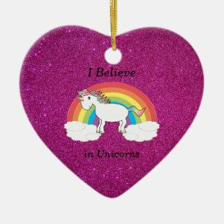 I believe in unicorns pink glitter ceramic ornament