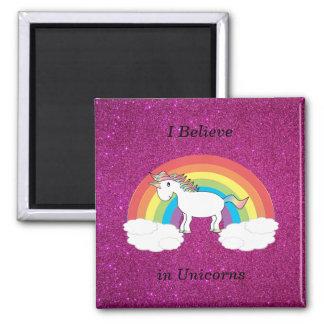 I believe in unicorns pink glitter magnet