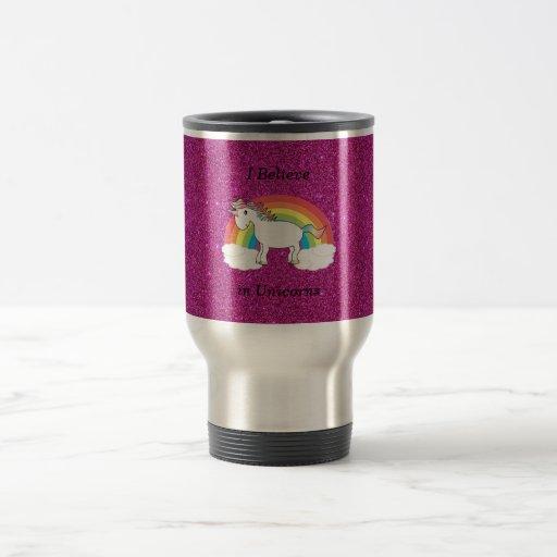 I believe in unicorns pink glitter mugs