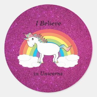 I believe in unicorns pink glitter classic round sticker