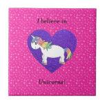 I believe in unicorns pink stars ceramic tiles