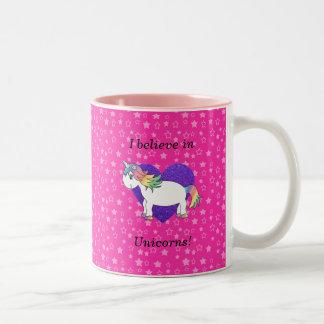 I believe in unicorns pink stars Two-Tone coffee mug