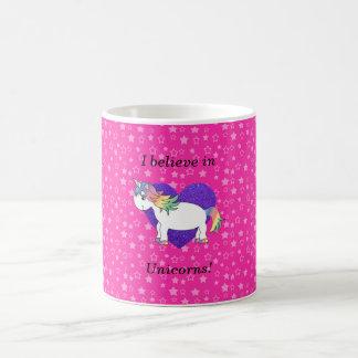 I believe in unicorns pink stars classic white coffee mug